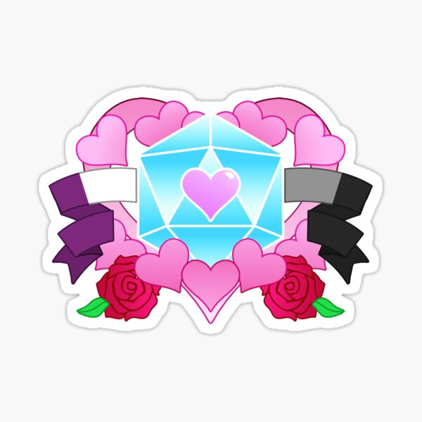 DiceHeart - Pride Month 2020 - ACE BANNER, LIGHT BLUE DICE Sticker