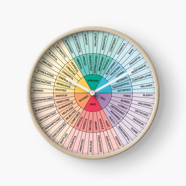 Wheel of Feelings and Emotions on Black - Therapy and Counseling Art  - DBT & CBT Gift for Counselor, Therapist and Parent Clock