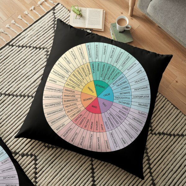 Wheel of Feelings and Emotions on Black - Therapy and Counseling Art  - DBT & CBT Gift for Counselor, Therapist and Parent Floor Pillow