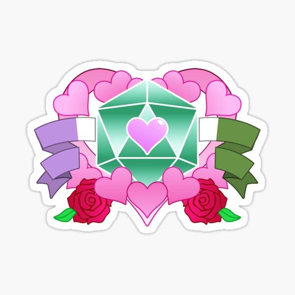 DiceHeart - Pride Month 2020 - GENDERQUEER BANNER, GREEN DICE Sticker