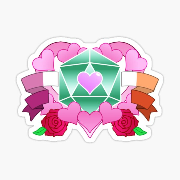 DiceHeart - Pride Month 2020 - LESBIAN BANNER, GREEN DICE Sticker