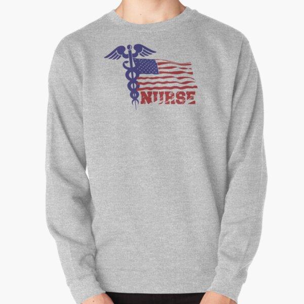 USA 4th July Nursing Hoodie Sweatshirt Nursing Student Graduation Apparel Gift Long Sleeve Nurse American Flag Stethoscope Shirt