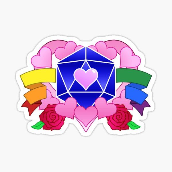 DiceHeart - Pride Month 2020 - RAINBOW BANNER, DARK BLUE DICE Sticker
