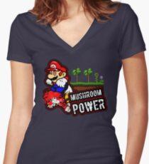 Mushroom Power Women's Fitted V-Neck T-Shirt