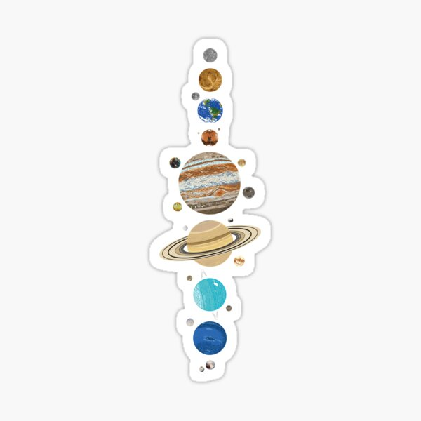 The Solar System With Moons Sticker