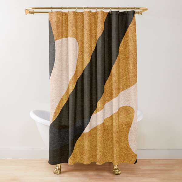 ABSTRACT ALPHABET / Script U Shower Curtain