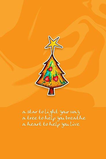 Christmas Card - Groovy Orange Wish Tree by Karin Taylor