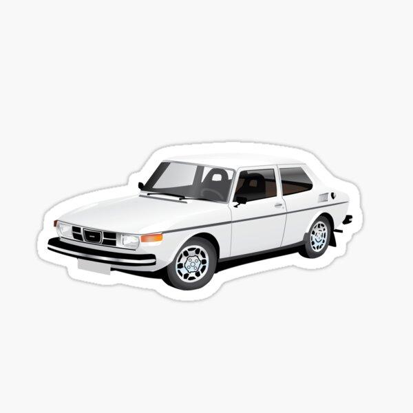 Saab 99 illustration white Sticker
