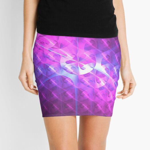 Shiny Purple Buttons | Future Art Fashion Mini Skirt