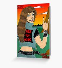 Headbanger Chick - Devil Horns Greeting Card