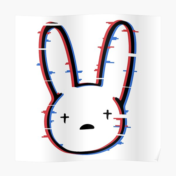 Bad Bunny Logo Glitch Póster