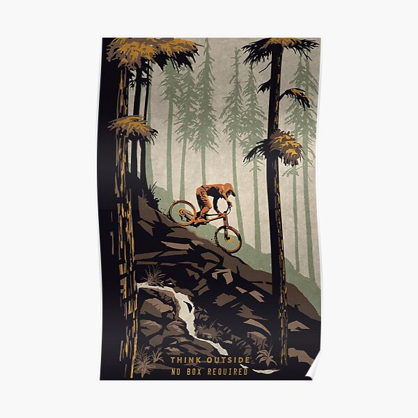 Retro Scenic Mountain Bike Poster Art: Think Outside, No Box Required! Poster