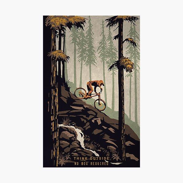 Retro Scenic Mountain Bike Poster Art: Think Outside, No Box Required! Photographic Print