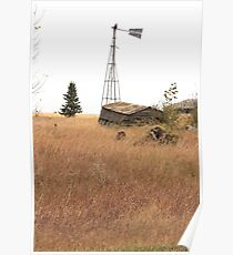 Abandoned Alberta Prairie Windmill Poster