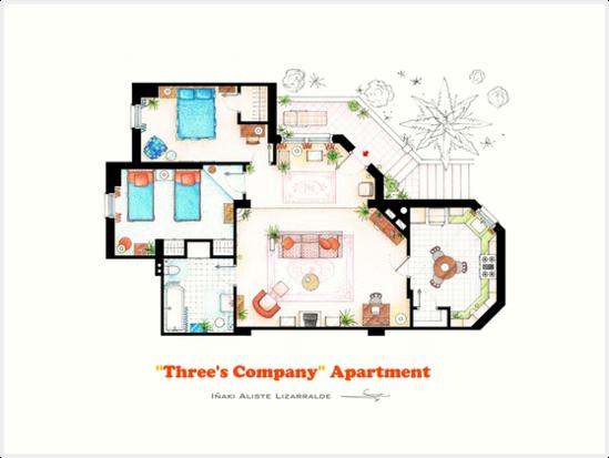 Three's Company Apartment Floorplan by Iñaki Aliste Lizarralde