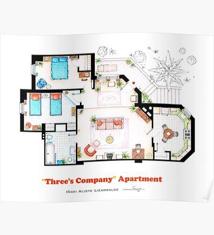 Three's Company Apartment Floorplan Poster