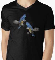 Free Birds, Flying Blue-Tits Illustration Mens V-Neck T-Shirt