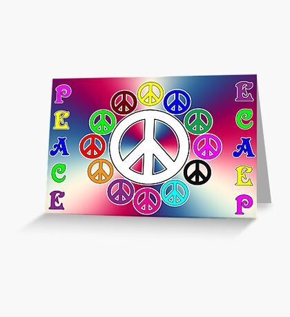 retro surrounded by peace Greeting Card