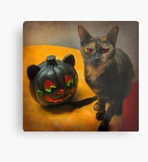 Happy Halloween Kitties Metal Print