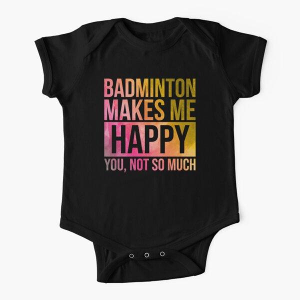 Badminton Makes Me Happy in Watercolor Short Sleeve Baby One-Piece
