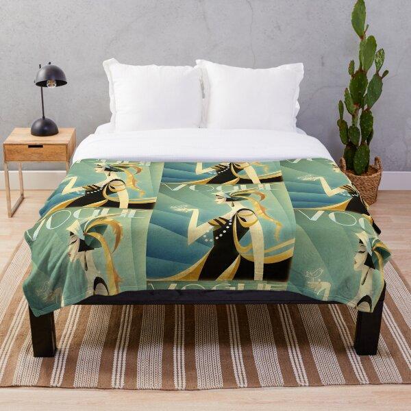 Art Deco Lady & Bird Throw Blanket