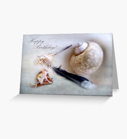 Happy Birthday Shells and Feather Card Greeting Card