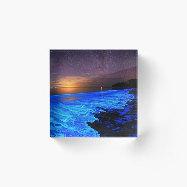Blue ocean beach sunset  Acrylic Block