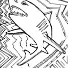 Great white shark, coloring book page by Gwenn Seemel