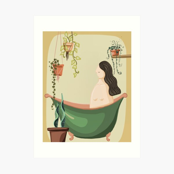 Lady in bath with her plants Art Print