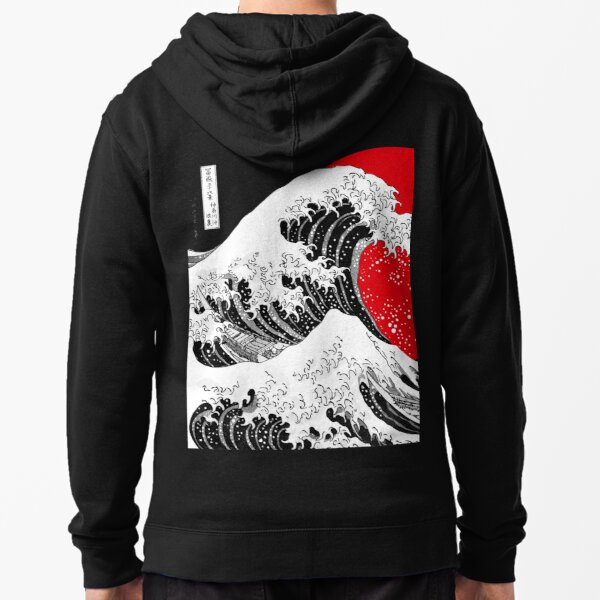 The Great Wave Off Kanagawa, Big Red Sun Zipped Hoodie