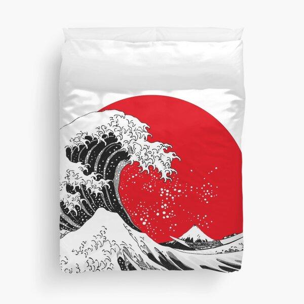 The Great Wave Off Kanagawa, Big Red Sun Duvet Cover