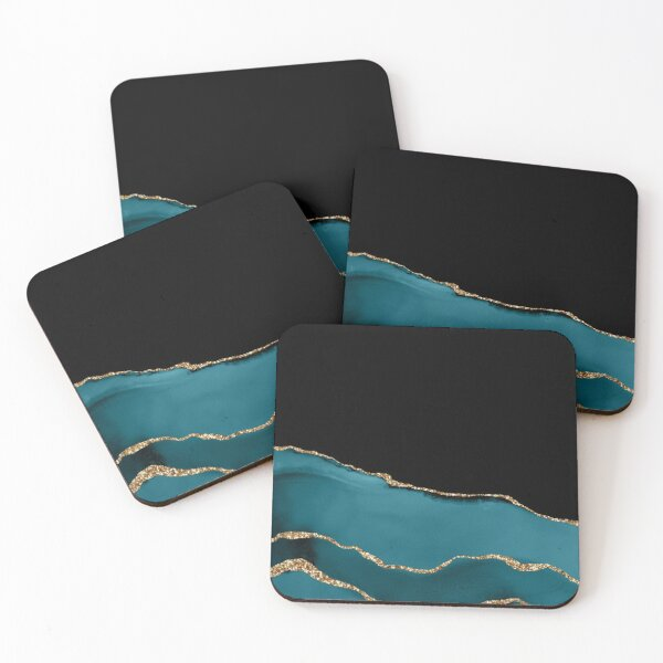 Teal & Gold Agate Texture 08 Coasters (Set of 4)