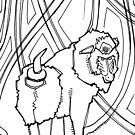 Mandrill, coloring book page by Gwenn Seemel