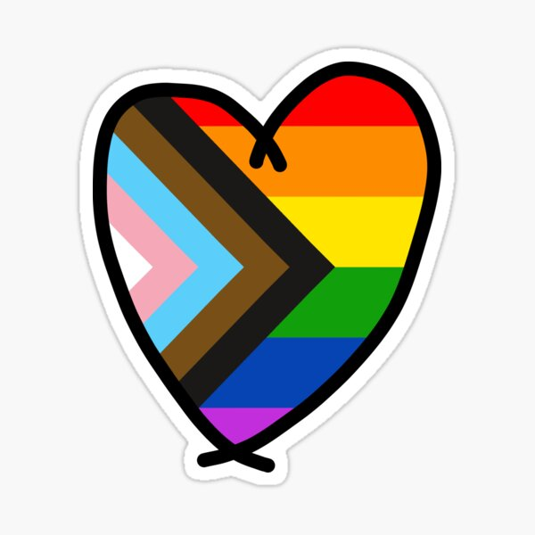 progress pride flag heart Sticker