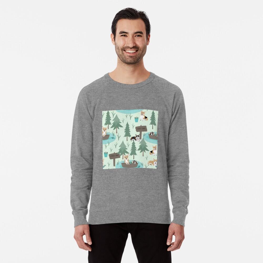 Corgis are fishing in the forest lake Lightweight Sweatshirt