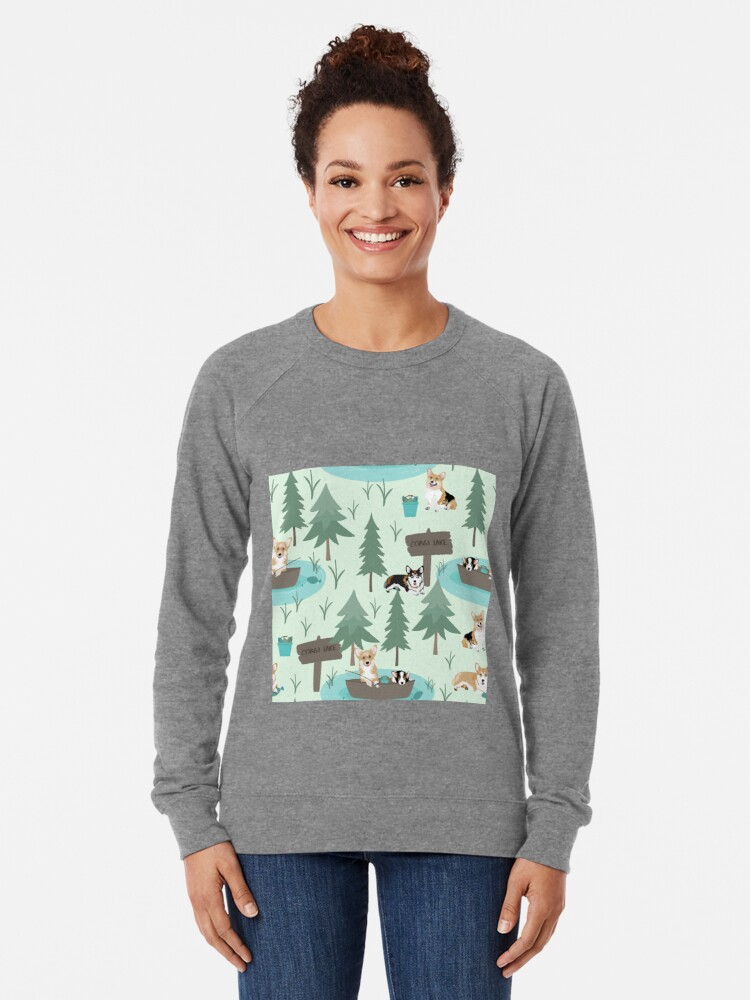 Alternate view of Corgis are fishing in the forest lake Lightweight Sweatshirt