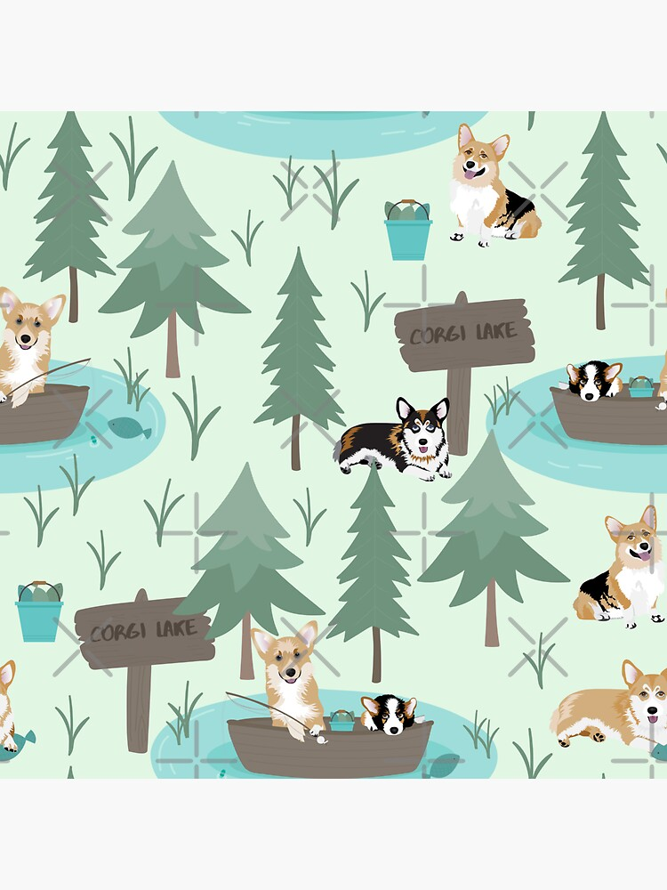 Corgis are fishing in the forest lake by Corgiworld