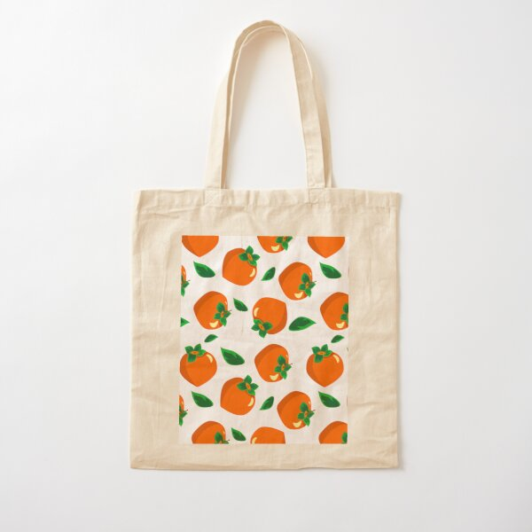 pattern with persimmons and leaves on a white background. fruit illustration. Cotton Tote Bag
