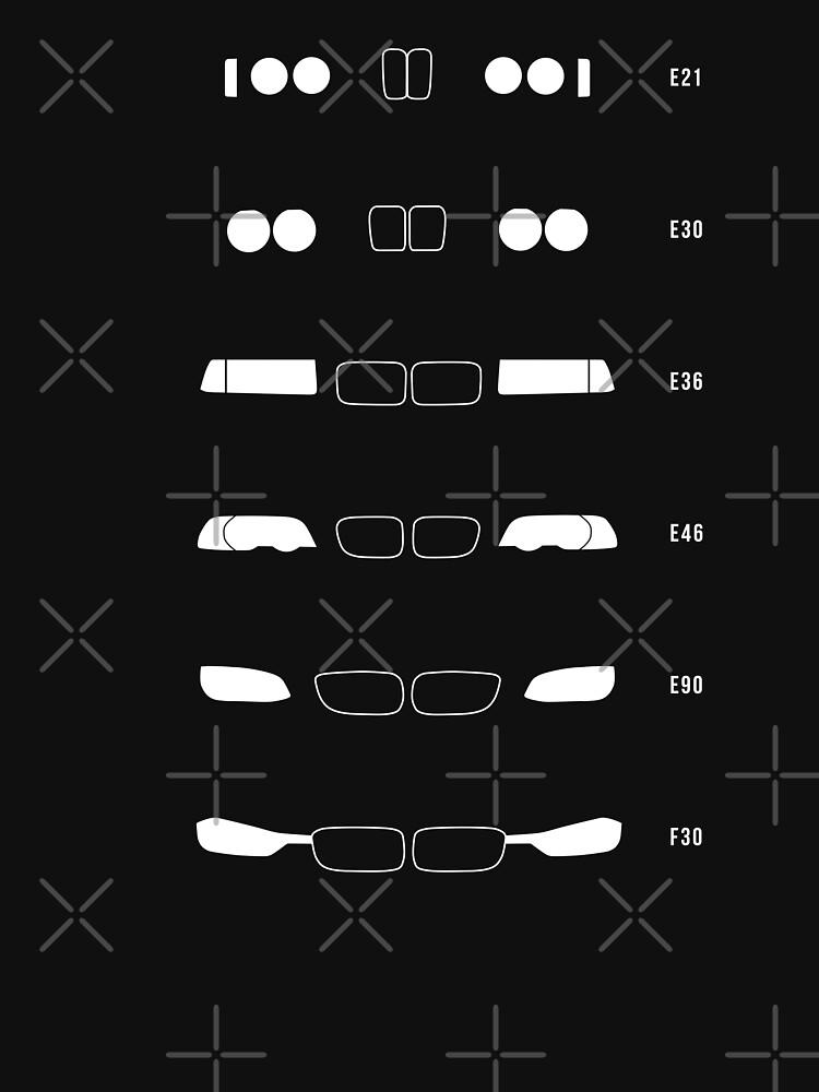 TShirtGifter presents: 3 Heritage, 1975-Present day (E21, E30, E36, E46, E90, F30) | Unisex T-Shirt