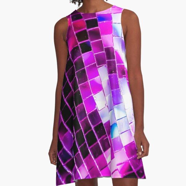 Purple Disco Ball A-Line Dress
