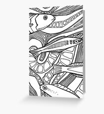 Bluehead wrasse, coloring book page Greeting Card