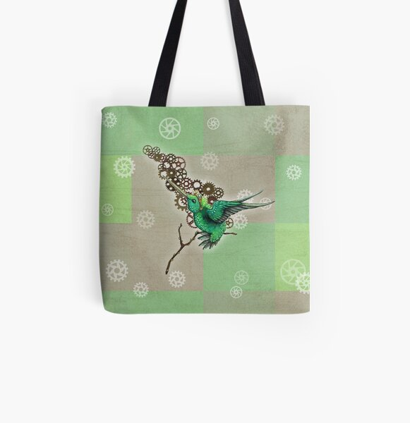 Steampunk Hummingbird Allover-Print Tote Bag