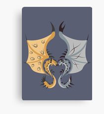 Heaven and Earth - Silver Rathalos x Gold Rathian Canvas Print