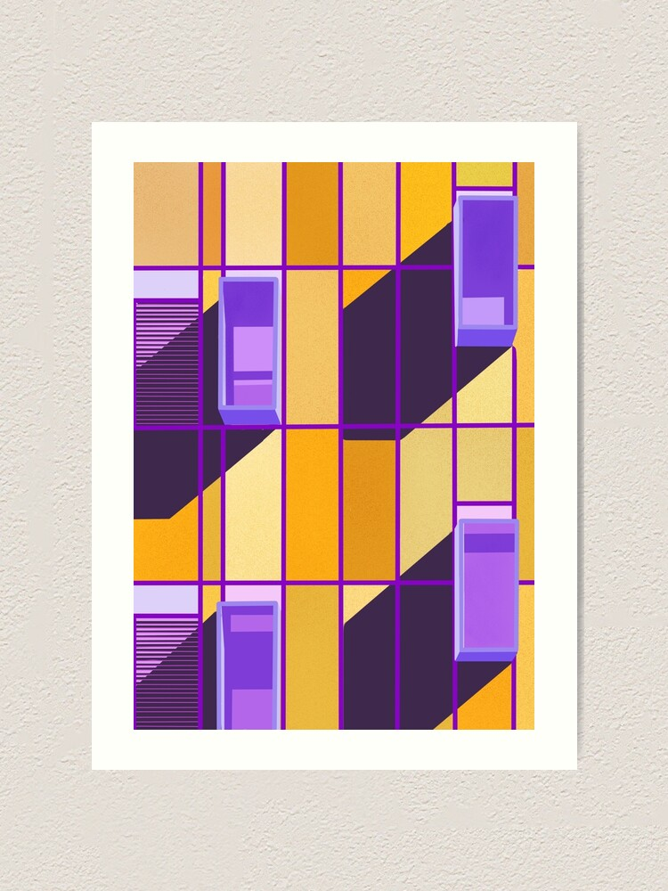 Alternate view of Yellow and violet contrast on a building front Art Print