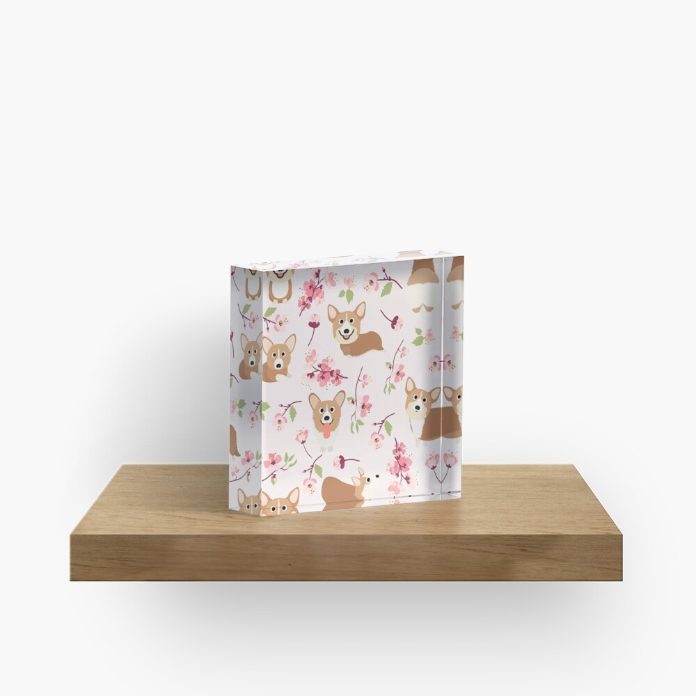 Corgis And Cherry Blossoms Sakura Pattern Acrylic Block