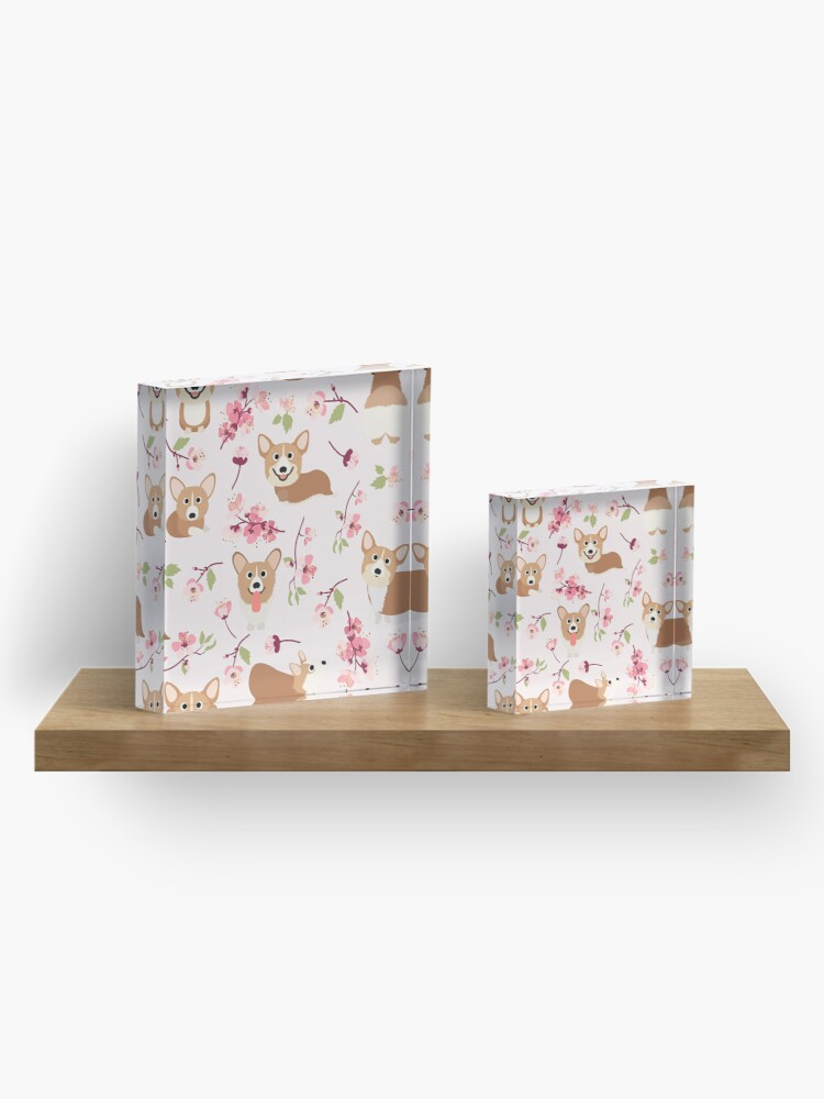 Alternate view of Corgis And Cherry Blossoms Sakura Pattern Acrylic Block