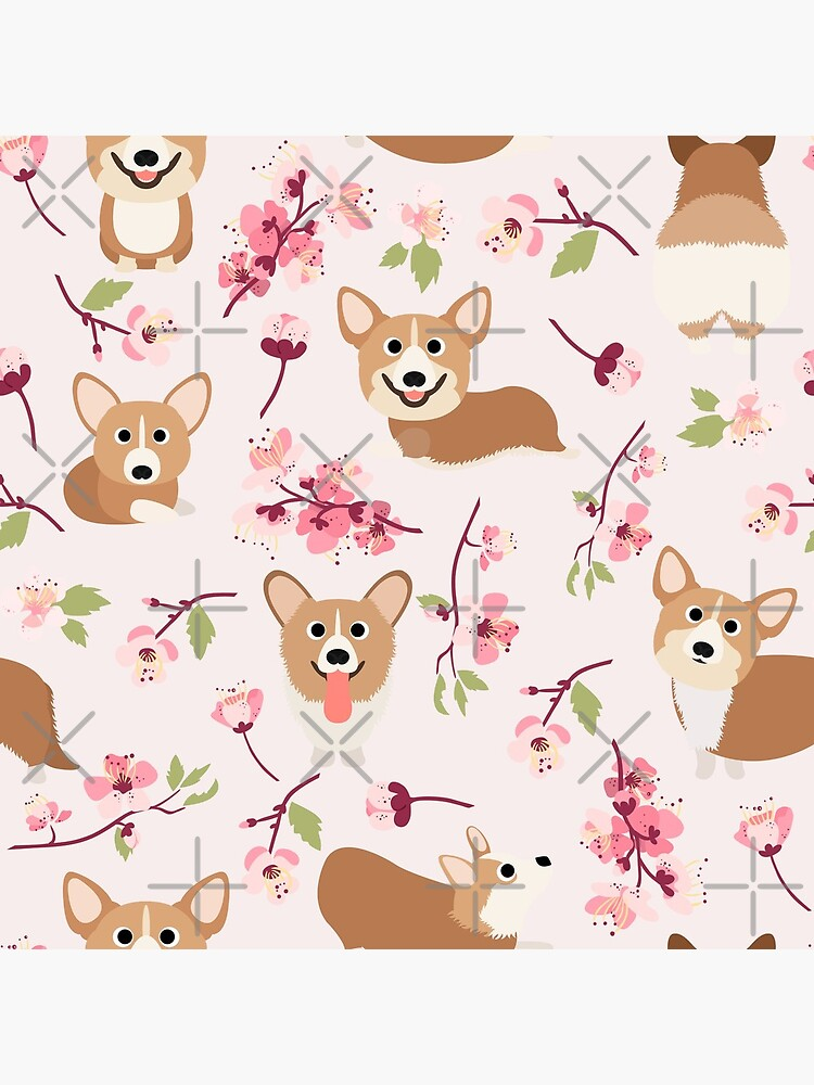 Corgis And Cherry Blossoms Sakura Pattern by Corgiworld