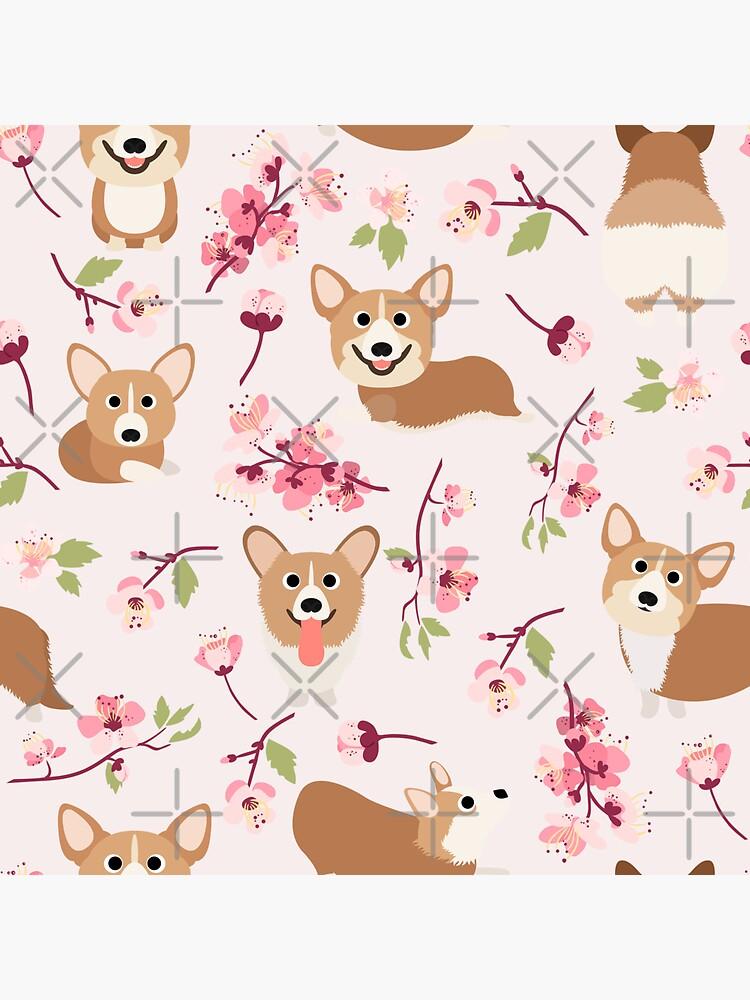 Corgis And Cherry Blossoms Sakura Pattern by Corgiworld