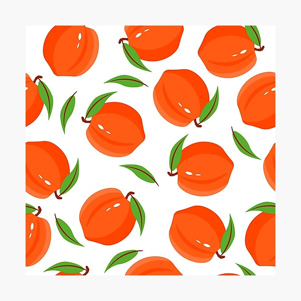 peach pattern on a branch with leaves on a white background. fruit illustration. Photographic Print