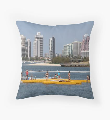 Pontoon on the Broadwater Throw Pillow